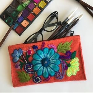 Boho Embroidered Flower Cosmetic Case